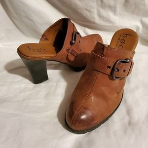 BOC Born Concept Brown Leather Mules Buckle Clog 8